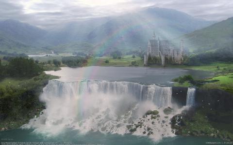 景观,瀑布,彩虹,里卡多的外观,城堡,山谷