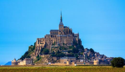 法国,诺曼底,城堡,圣米歇尔山,天空