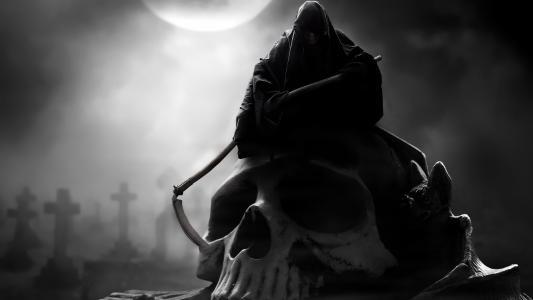 吐,兜帽,头骨,月亮,阴沉,死亡