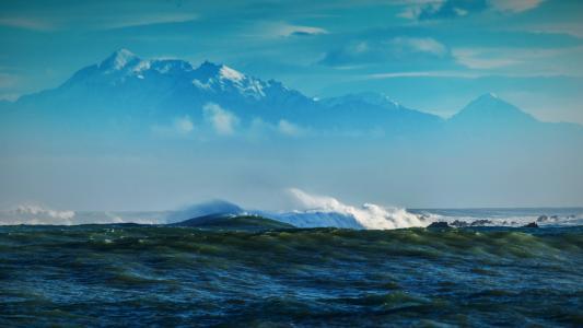 海,波浪,山,石头,珊瑚礁,自然