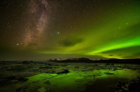 极光,天空,天堂别致,银河,星星,山,夜晚,美女