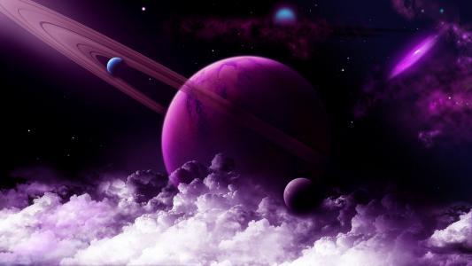 空间,星球,云,星星