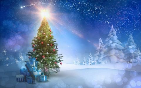 假期,圣诞树,优雅,光线,眩光,雪,礼品,新年,背景