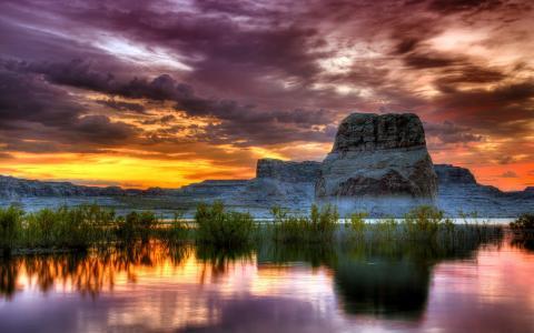 山,标度,土地,水,天空,云,黎明,日落
