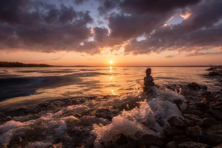 太阳,云,河,日落,波,冲浪,卡马,berezniki,弗拉基米尔·乌沙科夫