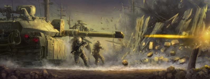 火,士兵,战争,坦克,围栏,爆炸,射击