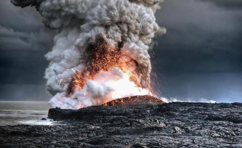 火山,夏威夷,爆发,美丽,海洋,天气,阴
