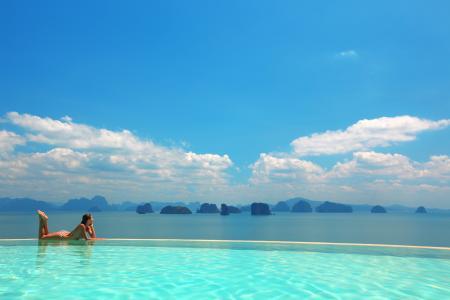 度假村,马尔代夫,游泳池,美丽,自然,海洋,山
