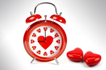 闹钟,时钟,手,表盘,心,心,爱,颜色,白,红色