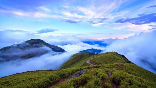山,台湾,云,雾
