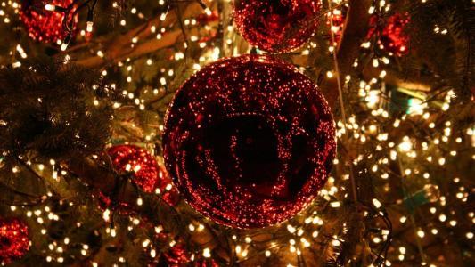 球,球,花环,灯,树,假期,冬天