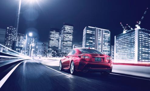 汽车,汽车,2014年,雷克萨斯,钢筋混凝土,轿跑车,城市,道路,建筑,夜晚,照明