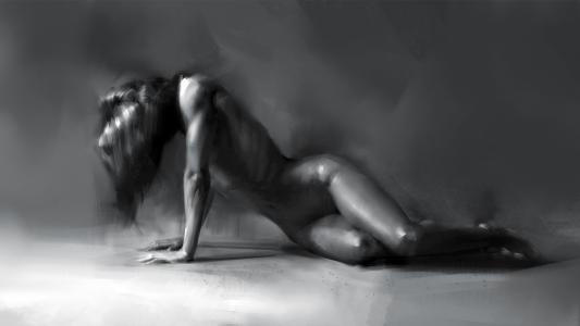 女孩,裸体,身体,头发,艺术,幻想