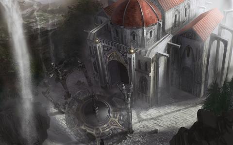 概念艺术,圆顶,地下城围困3,雕像,建筑,瀑布