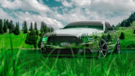 托尼科汉,福特,野马,GT,水晶,自然,汽车,肌肉,绿色,草,美国,汽车,托尼科汉,东尼汽车,Photoshop设计,艺术,风格,高清壁纸。