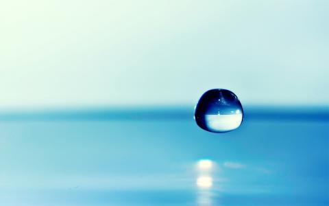 滴,水,背景,重点,蓝色