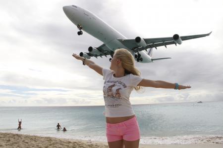 飞机,沙滩,人,女孩,构成,美丽