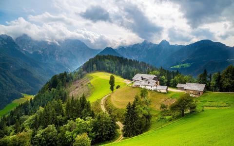 山,家,绿色,丘陵