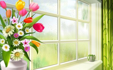 春天,鲜花,洋甘菊,郁金香,绿色,花瓶,锅,玻璃,窗口,窗台