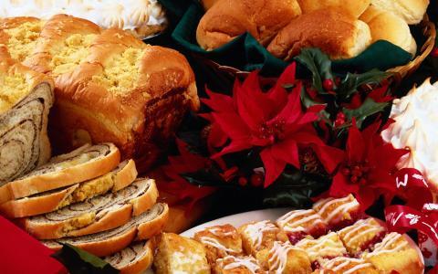 面包,鲜花,新年,圣诞节,糖果