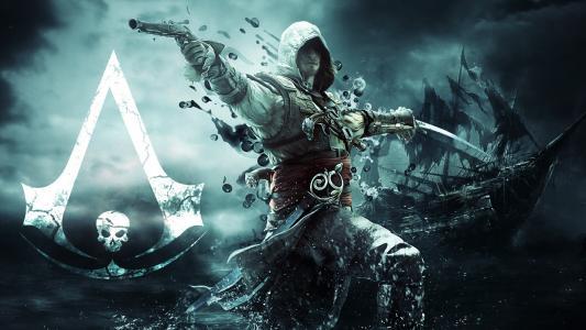 刺客信条4,黑旗,海盗,杀手,风暴,船舶,喷雾,武器,军刀,枪