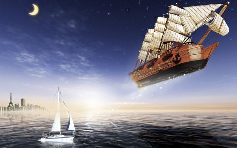 月亮,海,船舶,飞行,游艇,帆船