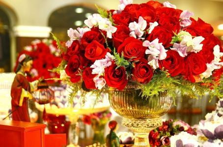 玫瑰,花瓶,花束