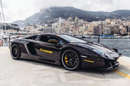 阿尼北,兰博基尼,兰博基尼Aventador,哈曼,黑色,摩纳哥