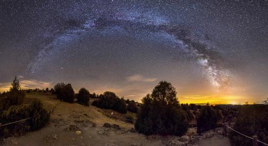 天空,夜晚,星星,银河,美女,树木