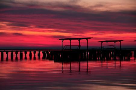 晚上,湖,云,天空,红色,码头,日落,暮光之城