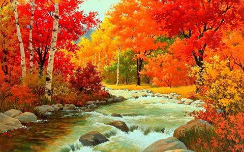 图片,性质,秋天,河,森林,山