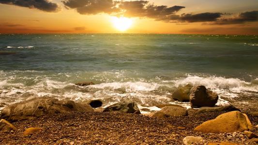 海,波浪,岸,巨石,天空