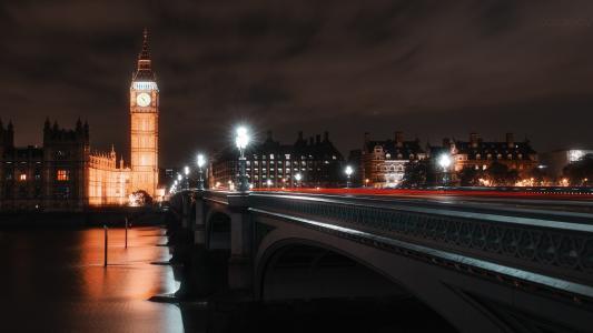 夜,英格兰,伦敦,大本钟,时钟,建筑,摄影师,伊万·戈罗霍夫,桥,河,灯
