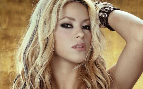 夏奇拉,夏奇拉,歌手,金发,长发,看,手镯,嘴唇,手
