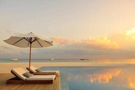 马尔代夫,浪漫,日落,海洋,游泳池,躺椅,天堂