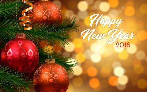 假期,新的一年,2018年,分支机构,云杉,针,装饰品,玩具,球,散景