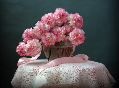 桌子,桌布,花边,花瓶,水族馆,鲜花,康乃馨,丝带