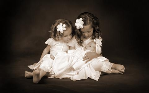 女孩,孩子,摇摆,宝贝,姐妹