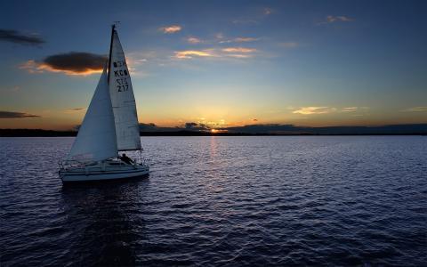 日落,风帆,海,天空,土地,云,地平线,游艇