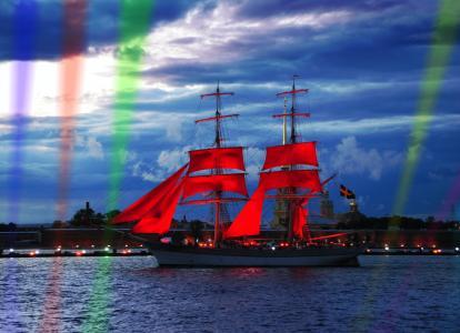 旗鱼,节日,猩红色,风帆