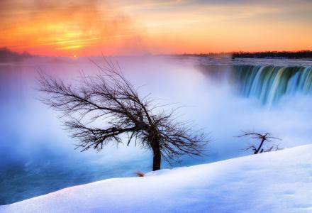 尼亚加拉瀑布,加拿大,尼亚加拉大瀑布,加拿大,尼亚加拉,河,树,冬天,雪,早晨,太阳