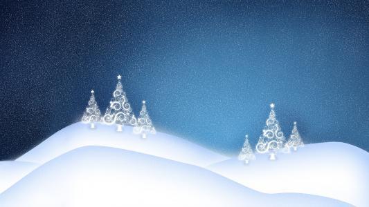 圣诞树,雪,冬天