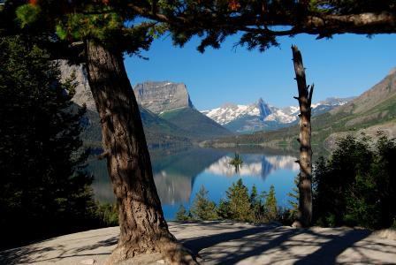 加拿大,山,湖,树,天空,美女