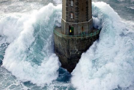 灯塔,海,波,男子,美丽,极端,照片