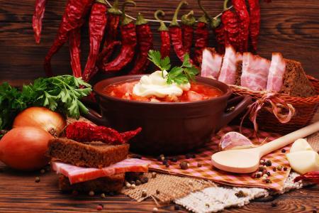 辣椒,汤,洋葱,整个,面包,静物,萨罗,美味
