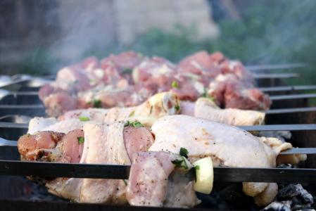 肉,烤羊肉串,串烧,美味,烟