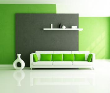 沙发,白,风格,绿色,设计,枕头,室内
