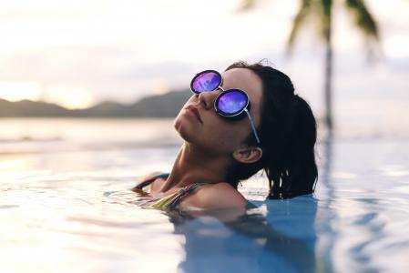 女孩,游泳池,眼镜,宏观照片