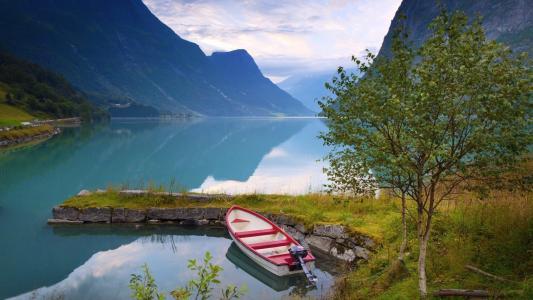 挪威,峡湾,山,小船,美丽