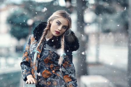 俄罗斯,构成,看,宏观照片,冬天